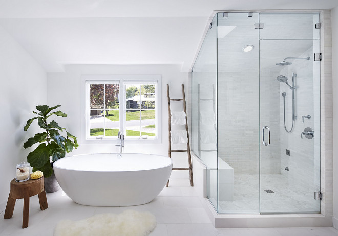 "Bathroom. I love how uncomplicated and organic this entire space feels. The oval tub measures as 70.25"" x 34.25"" x 21.75"". #bathroom #ovaltub #tubmeasurements Martha O'Hara Interiors"