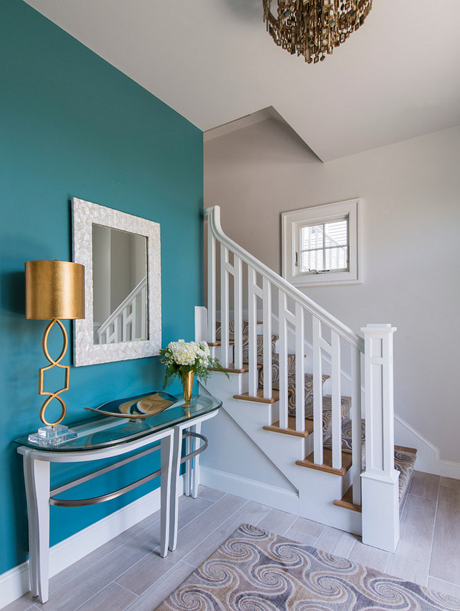 Benjamin Moore Mayo Teal. The accent wall paint color is Benjamin Moore Mayo Teal CW 570. Benjamin Moore Mayo Teal CW 570 #BenjaminMooreMayoTealCW570 #BenjaminMooreMayoTeal #BenjaminMooreteal #BenjaminMoorepaintcolors Caldwell & Johnson Custom Builders & Remodelers