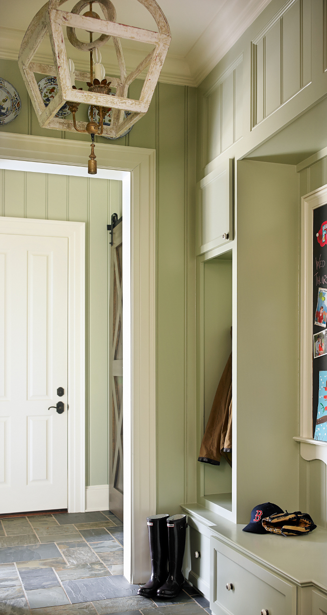 "Benjamin Moore OC-47 Ashwood Gray. This is one of my favorites mudrooms! I love the durable slate floor tiles and the cabinets. Cabinet paint color is ""Benjamin Moore OC-47 Ashwood Gray"". Wall paint color is Mizzle by Farrow and Ball. #mudroom #slatefloor #slatetile #flooring #BenjaminMooreOC47AshwoodGray Interiors by Mary McWilliams from Mary Mac & Co."