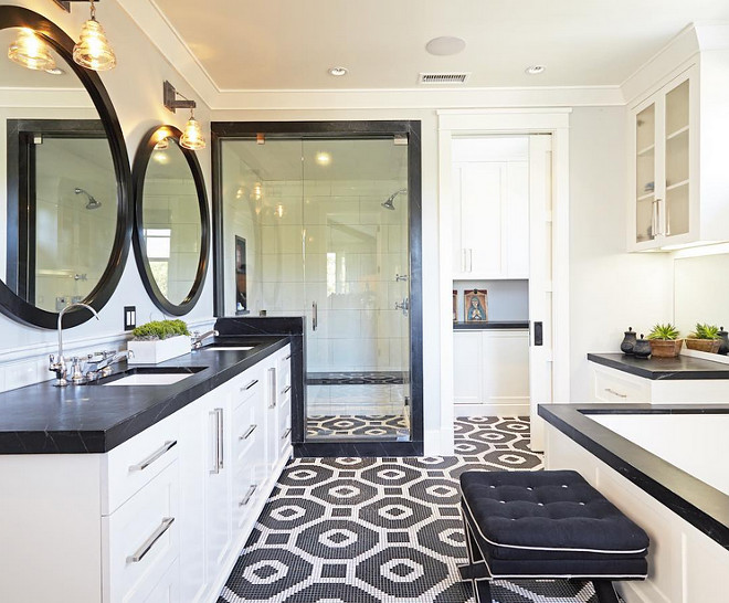 Black and white bathroom. Transitional black and white bathroom #bathroom #blackandwhite Brooke Wagner Design