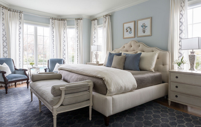 Blue bedroom. Blue bedroom paint color and decor. Blue bedroom ideas #Bluebedroom Heather Scott Home & Design
