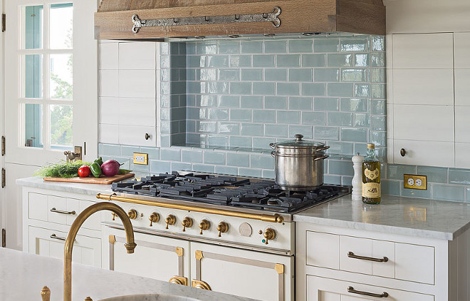 Brass kitchen faucet. Kitchen with brass faucet. Brass faucet is by Waterworks. #BrassFaucet #Kitchen #Faucet #KitchenFaucet Dearborn Builders. Interiors by Tory Haynes.