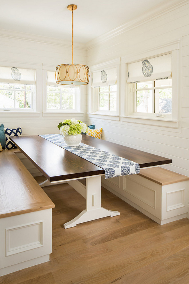 Breakfast nook with white oak hardwood floor and white oak banquette. Shiplap Breakfast nook with white oak hardwood floor and white oak banquette ideas #Breakfastnook #whiteoakhardwoodfloor #hardwoodfloor #whiteoak #banquette