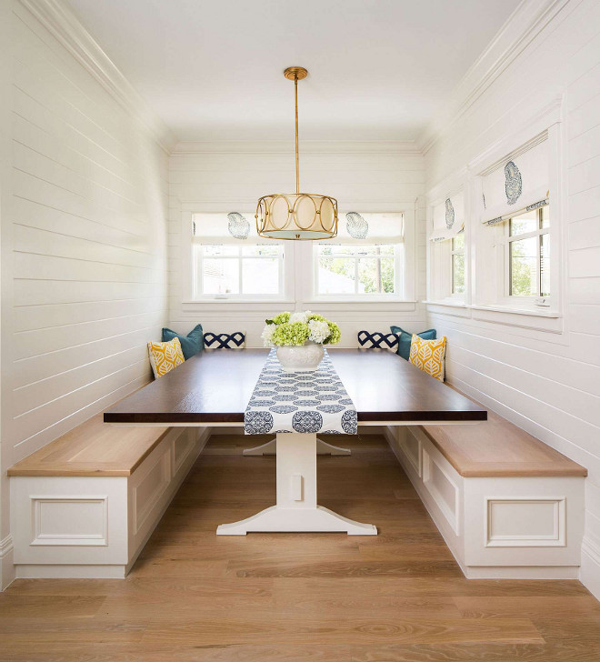 Shiplap Breakfast Nook. Shiplap Breakfast nook with white oak hardwood floor and white oak banquette. Shiplap Breakfast nook with white oak hardwood floor banquette ideas #Breakfastnook #whiteoakhardwoodfloor #hardwoodfloor #whiteoak #banquette #Shiplap #ShiplapBreakfastNook Fox Group Construction.