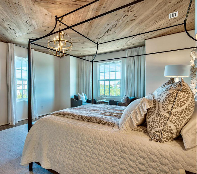 "Wood Ceiling. Master bedroom ceiling features 1""x 6"" Pecky Cypress wood in diamond pattern. Pecky Cypress wood ceiling in diamond pattern. #wood #ceiling #woodceiling #PeckyCypress #woodceiling #diamondpattern Interiors by Jan Ware Designs."