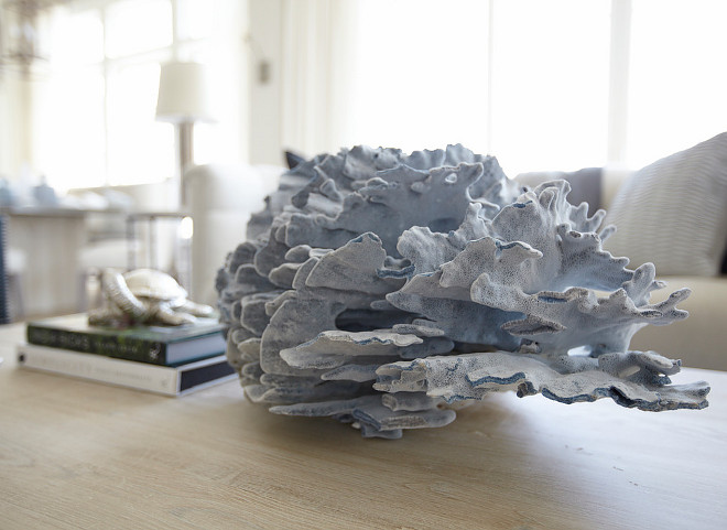 Coral. Coffee table with coral. #Coral Laura Allyson Interiors.