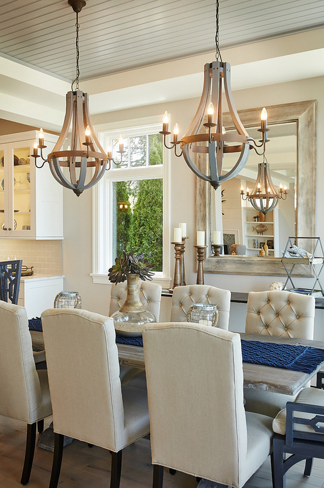 "Dining Room Lighting. Dining room chandelier is ""Wooden Wine Barrel Strave Chandelier"" in Stormy Gray from Shades of Light. Affordable lighting for dining room."