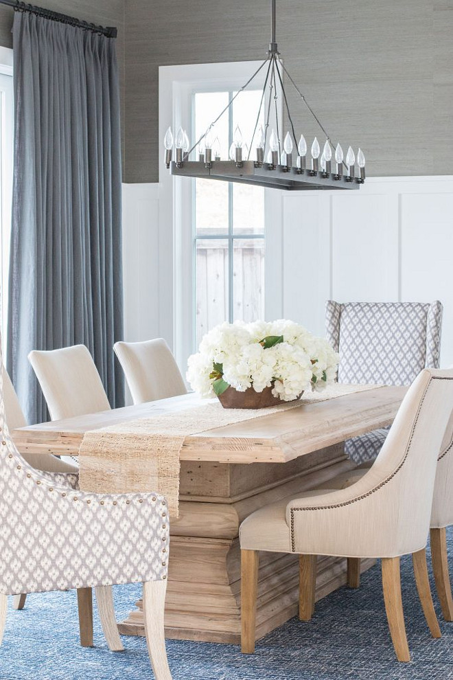 Dining Room wainscoting and grasscloth wallpaper. Dining Room wainscoting and grasscloth wallpaper. #DiningRoom #wainscoting #grassclothwallpaper Blackband Design.