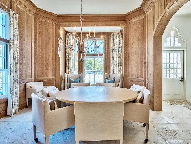 Dining Room Paneled walls. Oak paneling. Oak wood paneling detailed by architect Yong Pak line the dining room walls. #oak #paneling #paneledwalls #panels Scenic Sotheby's Realty. Interiors by Jan Ware Designs.