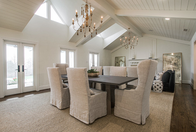 Dining room and living room with shiplap vaulted ceiling. Neutral Dining room and living room with shiplap vaulted ceiling. #Diningroom #livingroom #shiplapceiling #vaultedceiling Redo