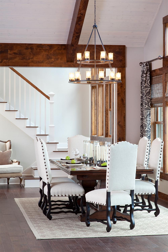 High Ceiling Dining Room. Dining room with high ceiling. How to ground a dining room with high ceilings. Dining room with high ceiling ideas #Diningroomhighceiling Heather Scott Home & Design