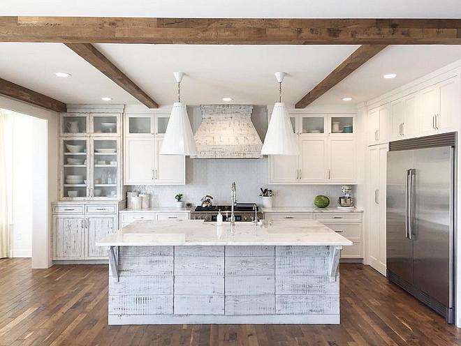 """Distressed kitchen. Distressed white kitchen. Distressed white kitchen ideas. The floor is solid reclaimed oak in 3-4"""" planks. #distressedkitchen #distressedwhitekitchencabinet #distressedkitchen Four Chairs Design."""