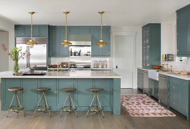 Farrow and Ball 47 Green Smoke. The cabinetry is painted in Farrow and Ball 47 Green Smoke. Kitchen Paint Color. #FarrowandBall47GreenSmoke Massucco Warner Miller Interior Design