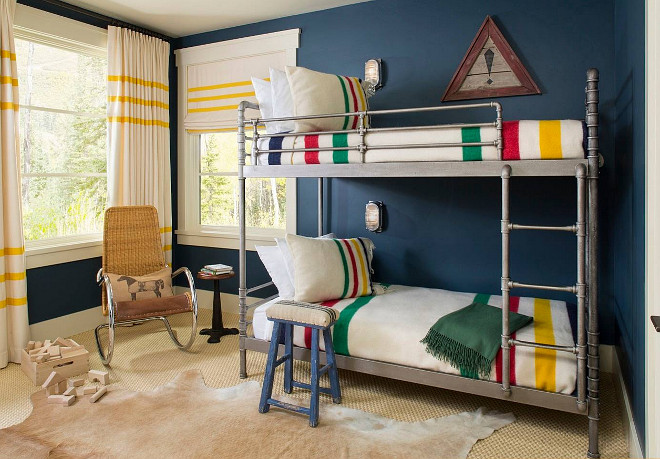 Farrow and Ball Hague Blue. Farrow and Ball Hague Blue. Bunk room paint color is Farrow and Ball Hague Blue. Bunk Beds are from Restoration Hardware. #FarrowandBallHagueBlue