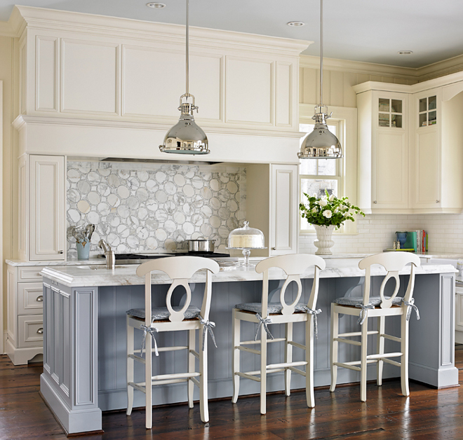 "Parma Gray by Farrow and Ball. Paint color is ""Parma Gray by Farrow and Ball"". The kitchen island paint color is ""Parma Gray by Farrow and Ball"". #ParmaGrayFarrowandBall #FarrowandBallParmaGray"