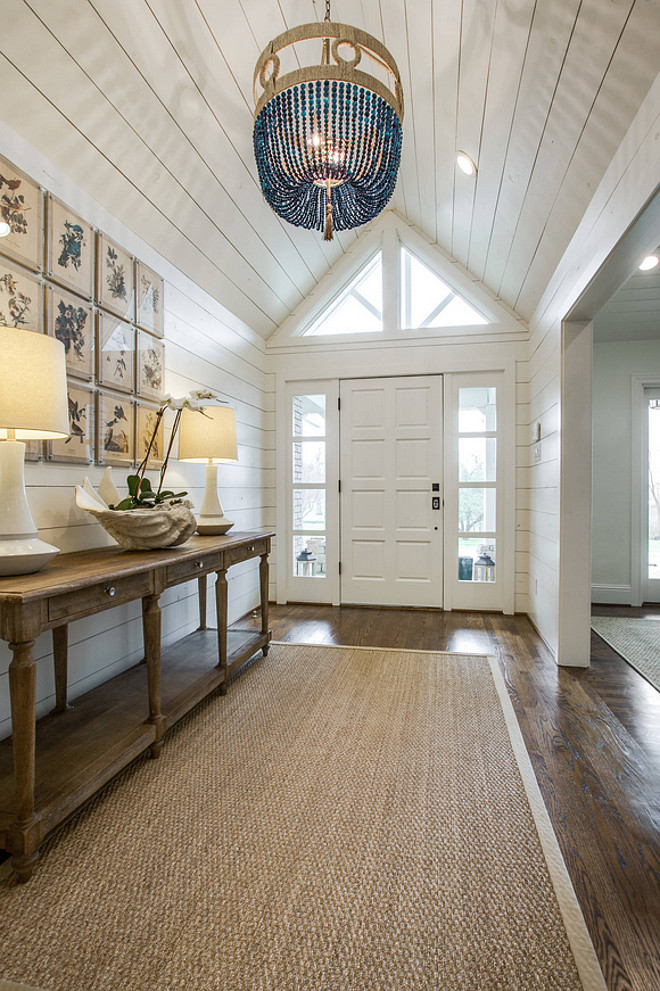 Foyer shiplap wall and shiplap ceiling. Foyer shiplap wall and shiplap ceiling dimensions. This foyer with shiplap measurements are: width is 6.5' wide and what is pictured is about 14' long, however, the foyer extends to the back of the house another 20'. #Foyer #Shiplap #dimensions #foyershiplap Massucco Warner Miller Interior Design Redo