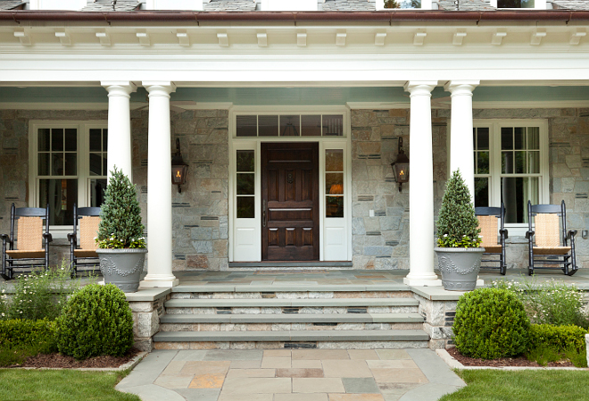 Front Porch. Traditional Porch. Front Porch with stone steps and floors. Front Porch #FrontPorch #porch #stonesteps #flooring #stonetiles T.S. Adams Studio. Interiors by Mary McWilliams from Mary Mac & Co.