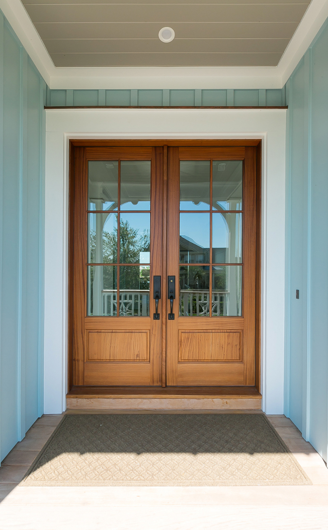 Front door. Front door is Pella Doors- Provincial finish. Entry Door. Front doors. Porch ceiling paint color is Sherwin Williams SW 7025 Backdrop. #PellaDoors #Provincialfinish #frontdoors #door #entrydoor The Guest House Studio