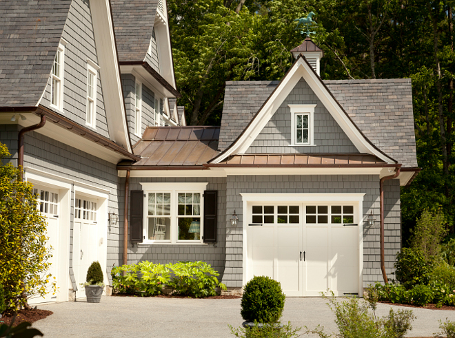 Traditional Garage. Traditional garage design. Traditional Garage with copper metal roof. #TraditionalGarage #Garage #garagemetalroof #copperroof T.S. Adams Studio. Interiors by Mary McWilliams from Mary Mac & Co.