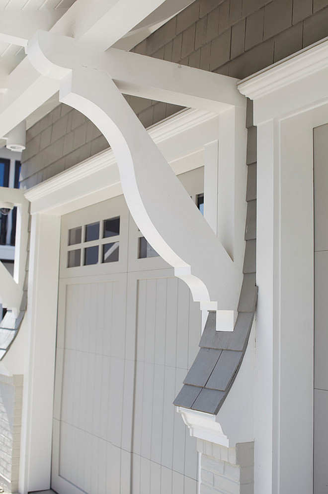 Garage Corbels. Garage Door Corbels. Shingle home with garage door corbels on exteiror. #Garage #Door #Corbels #corbel #exterior TS Adams Studio Architects. Laura Allyson Interiors.