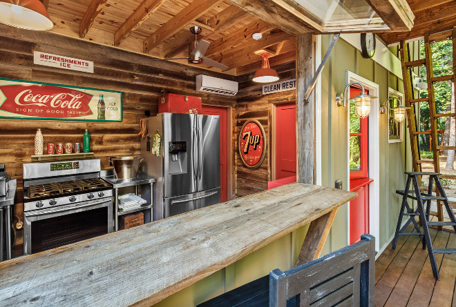Garage converted into a bar. How fun! Garage converted into a bar, perfect for lake houses, cottages. #garage #bar MOSAIC Group [Architects and Remodelers]