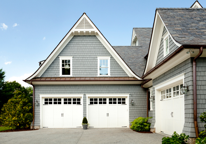 Garage with Bonus room above exterior design. More details aboute garage doors. Garage Door: Base Bid: ¾ HP chain drive motor with paint grade panels per plan. #garage #garagedoors #bonusroom T.S. Adams Studio. Interiors by Mary McWilliams from Mary Mac & Co.