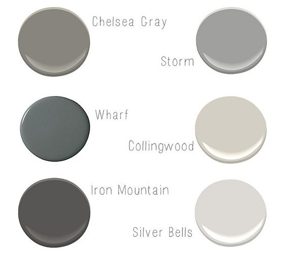 Gray paint colors by Benjamin Moore.