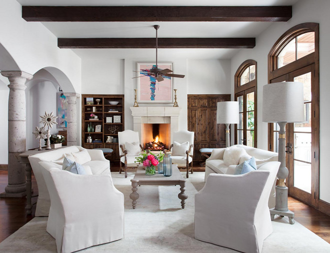 Hacienda style living room. Modern Hacienda style living room. White Hacienda living room #Hacienda #livingroom Heather Scott Home & Design