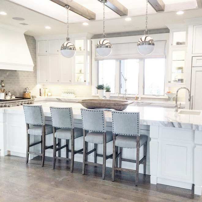 Hicks pendants. Kitchen island with three Hicks pendants. #Hickspendants #HicksLighting #Hicks #Pendants Caitlin Creer Interiors