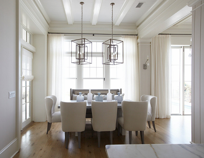 Ivory white dining room. Neutral, ivory white dining room. #Ivorywhite #diningroom TS Adams Studio Architects. Laura Allyson Interiors.