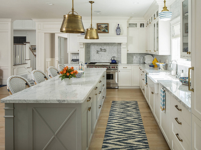 Kitchen Ideas. brass hardware brass lights carrara marble countertops grey cabinets marble countertops rug runner white cabinets white kitchen #kitchen