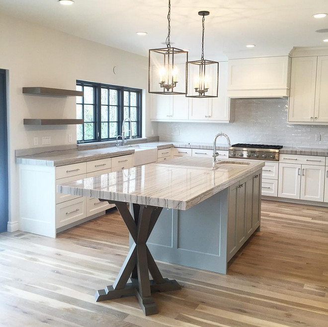 Kitchen Island with trestle base. Kitchen trestle base island ideas. Kitchen trestle base island . Brilliant idea for kitchen islands. Kitchen trestle base island #Kitchen #island #trestlebaseisland #trestlekitchenisland Northstar Builders, Inc. Caitlin Creer Interiors