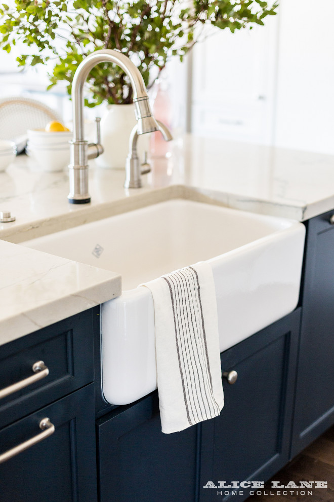 Kitchen faucet. Kitchen faucet, an Artesso Single Handle Pull-Down Kitchen Faucet by Brizo, looks great with the Rohl farmhouse sink. #Faucet #kitchen #Brizo #Singlehandlefaucet