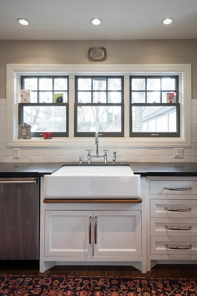 Kitchen with painted window frames above sink. Kitchen painted window frames. #Kitchen #paintedwindowframes Northstar Builders, Inc.