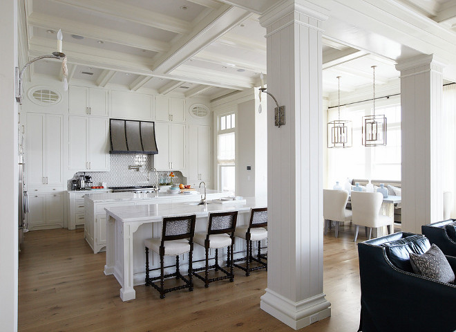Kitchen. Featuring coffered ceiling over white shaker cabinets, that go all the way up to the ceiling, and white marble countertops, this kitchen is truly a dream! #kitchen #cofferedceiling #cabinetsuptotheceiling tallcabinets #dreamkitchen