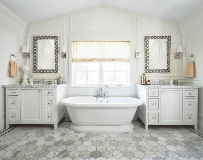 Large Hex Floor Tile. Bathroom Large Hex Floor Tile. Bathroom with Large Hex Floor Tile, vaulted ceiling and paneled walls. Large Hex Floor Tiles #LargeHexFloorTiles #HexFloorTiles #hextile #hex #tile Fox Group Construction