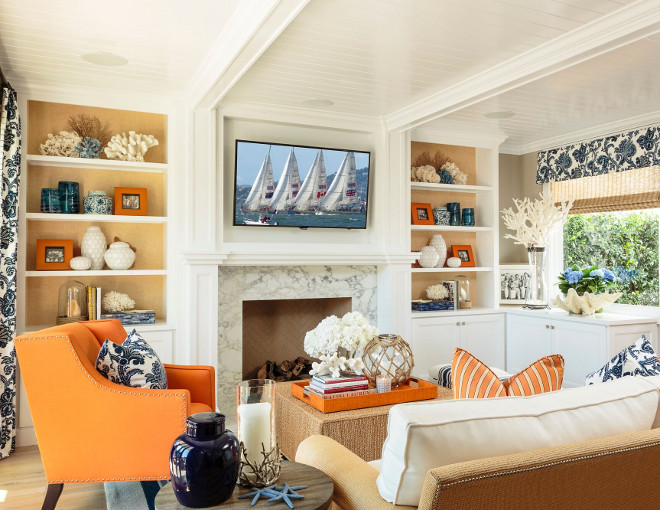 Living room color scheme. Fresh and beautiful living room color scheme designed by interior designer Barclay Butera. #Livingroom #Colorscheme #Livingroomcolorscheme #BarclayButera Barclay Butera Interiors.