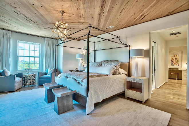 Master Bedroom Lighting. Geometric shape and metallic finish create timeless 8 arm lighting for master bedroom, dining room, entry way. The gorgeous lighting is Barbara Cosgrove Pendant Sphere in Antique Brass #masterbedroom #lighting Interiors by Jan Ware Designs.