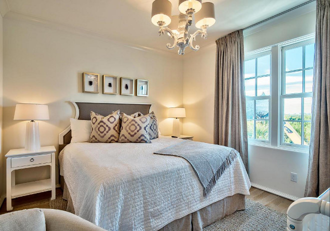 Neutral Bedroom. Neutral bedroom with White Lacquered Chandelier. White Lacquered Chandelier is by Barbara Cossgrove. Scenic Sotheby's Realty. Interiors by Jan Ware Designs.