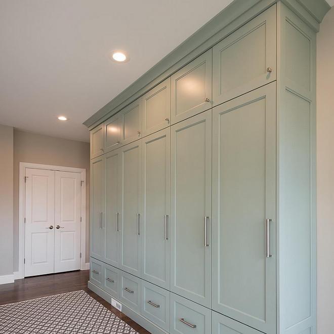 Benjamin Moore Wythe Blue. Mudroom cabinet painted in Benjamin Moore Wythe Blue. Benjamin Moore Wythe Blue #BenjaminMooreWytheBlue Northstar Builders, Inc.