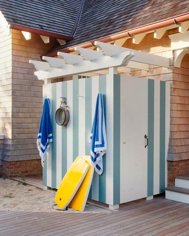 Outdoor Shower. Stripped Outdoor shower painted in Farrow and Ball Dix Blue and Benjamin Moore Decorator's White. #FarrowandBallDixBlue #BenjaminMooreDecoratorsWhite Tory Haynes.
