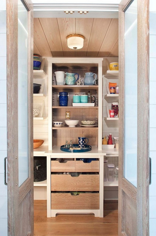 Pantry Doors. Kitchen pantry. Kitchen pantry doors are made of white oak and glass. Kitchen Pantry Double Doors. #KitchenPantryDoors #PantryDoors #PantryDoor Dearborn Builders. Interiors by Tory Haynes.