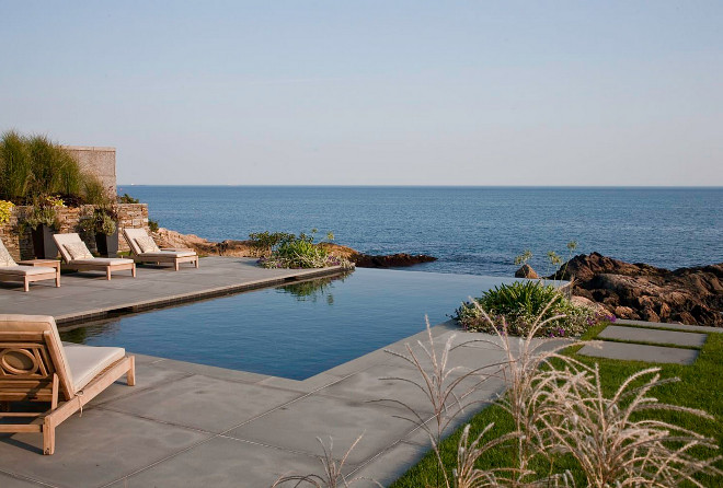 Pool. Infinity edge pool with ocean view. LDa Architecture & Interiors