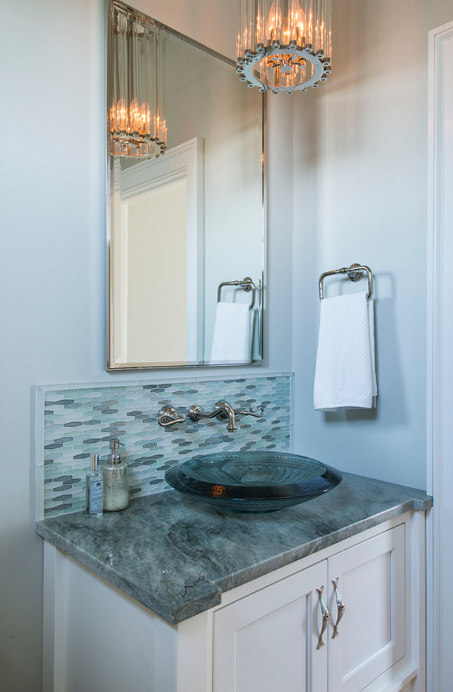 Fortified home a beach house designed to survive storms - Powder room tile ideas ...
