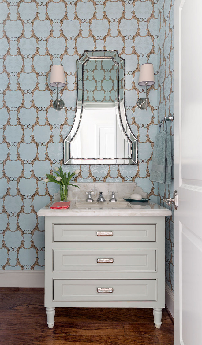Powder room vanity cabinet. Powder room with dresser style vanity. Powder room with dresser style cabinet. #Powderroom #dresser #vanity #cabinet Heather Scott Home & Design