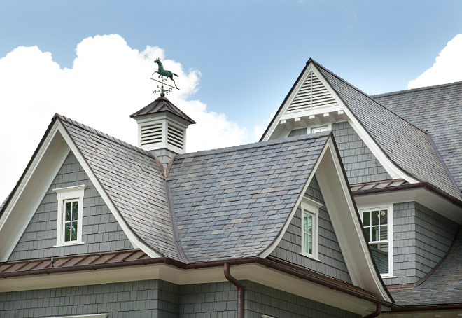 Slate roof. Slate roof is Vermont Slate. Roof lines with copper and slate. #Slate #roof #SlateRoof #VermontSlate #VermontSlateRoof T.S. Adams Studio. Interiors by Mary McWilliams from Mary Mac & Co.