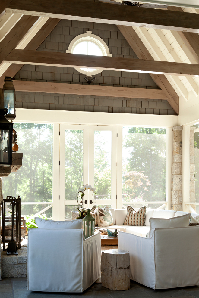 Screened in porch. Screened in porch vaulted ceiling. Screened in porch ceiling #Screenedin #porch #ceiling #vaultedceiling T.S. Adams Studio. Interiors by Mary McWilliams from Mary Mac & Co.