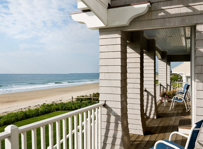 Shingle porch. Shingle Beach house porch. Shingle Beach house porch with ocean view. #Shingle #porch #Beachhouseporch Bowley Builders