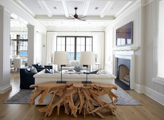 Coastal Living Room With Driftwood Console Sofa Table Sofatable