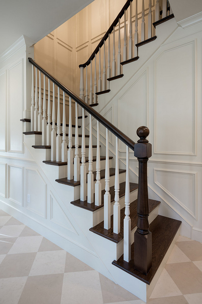 Staircase wall millwork. Staircase wall paneling millwork. Traditional foyer staircase wall paneling millwork design. #Staircase #wall #paneling #millwork Northstar Builders, Inc.